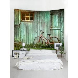 Wooden House Bike Pattern Tapestry Wall Decoration -