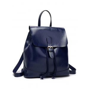 Minimalist Buckled Casual Travel Backpack with Handle -