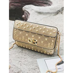 Flapped Quilted All Over Rivets Chic Sling Bag -