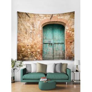 Wooden Door Loam Wall Pattern Tapestry Hanging Decor -