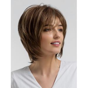 Short Side Bang Colormix Layered Straight Synthetic Wig -