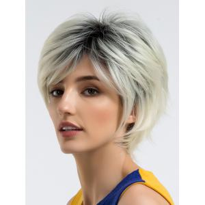 Short Side Bang Colormix Straight Cosplay Synthetic Wig -