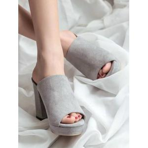 Слайд Peep Toe Leisure Chunky Heel Mules Shoes -