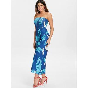 Palm Print Strapless Jumpsuit -