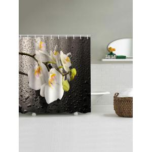 Waterdrop Blooming Flowers Print Waterproof Shower Curtain -