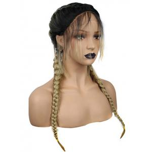 Long Center Parting Braids Colormix Synthetic Lace Front Wig -