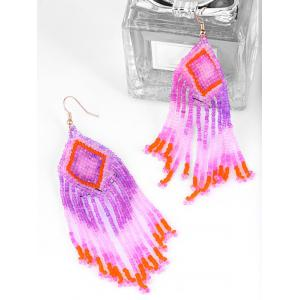 Geometric Beads Tassel Dangle Earrings -