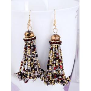Beads Tassel Rhinestone Hanging Hook Earrings -
