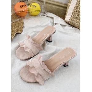 Chunky Heel Ruffles Decorated Mules Shoes -