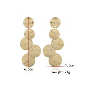 Simple Round Coin Design Long Hanging Earrings -