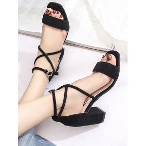 Mid Heel Cross Strap Buckled Casual Sandals -