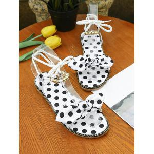 Polka Dot Beading Bow Decorated Ankle Strap Sandals -