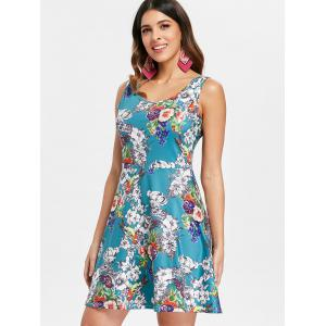 Sleeveless Floral Print Beach Fit and Flare Dress -