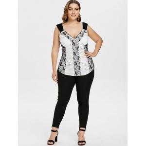 Plus Size Ruched V Neck Tank Top -