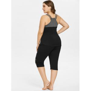 Plus Size Strappy Top and Music Notes Capri Leggings -