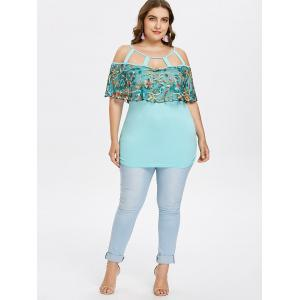 Plus Size Embroidery Cutout Sheer Foldover T-shirt -
