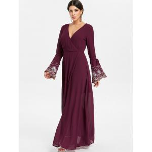 Plunging Neck Flare Sleeve Maxi Dress -