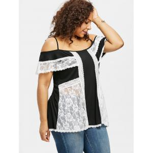 Plus Size Lace Panel Overlay T-shirt -