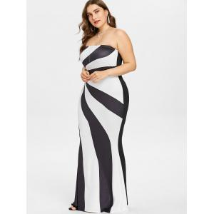 Plus Size Two Tone Strapless Maxi Dress -