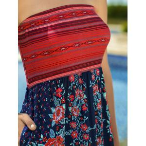 Vacation Style Strapless Floral Printed Dress -