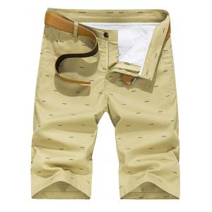 Zipper Fly Fishbone Imprimer Shorts occasionnels -