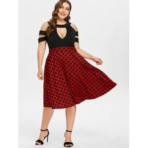 Plus Size Cold Shoulder Polka Dot Swing Dress -