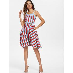 Striped A Line Vintage Dress with Belt -