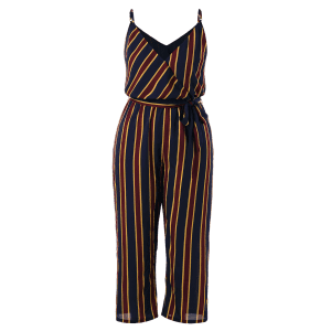 Plus Size Striped Cami Jumpsuit -