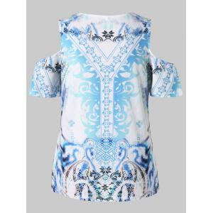Plus Size Cold Shoulder Printed Top -