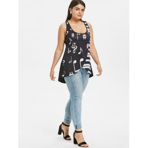 Plus Size U Neck Music Note Tank Top -