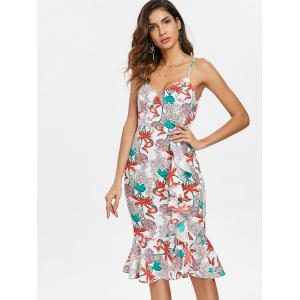 Ruffle Floral Midi Fishtail Dress -