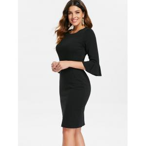 Bodycon Bell Sleeve Knee Length Dress -