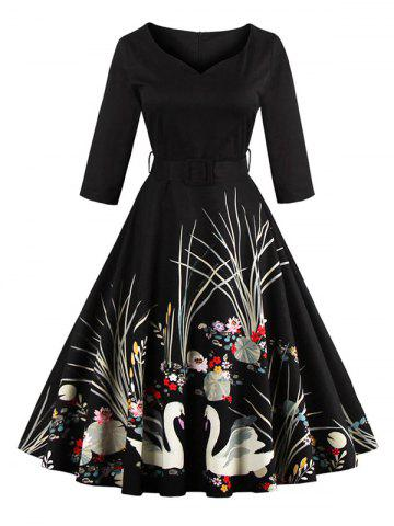 Fancy Vintage Printed Fit and Flare Waisted Dress