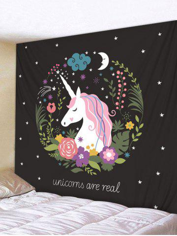 Unicorn Flower Star Moon Tapestry Wall Hanging Decor - Black - W59 Inch * L59 Inch