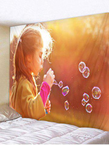 Trendy Blowing Bubbles Girl Pattern Tapestry Wall Hanging Decor