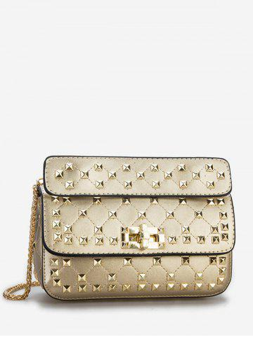Hot Flapped Quilted All Over Rivets Chic Sling Bag