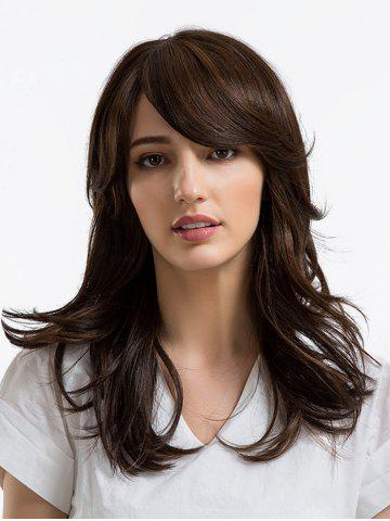 Affordable Long Side Bang Layered Slightly Curly Synthetic Wig