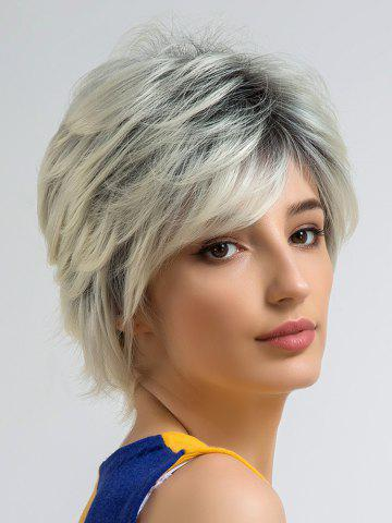 Fancy Short Side Bang Colormix Straight Cosplay Synthetic Wig