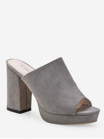 Слайд Peep Toe Leisure Chunky Heel Mules Shoes
