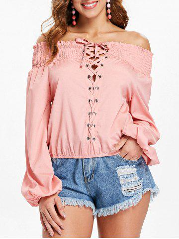 Latest Elastic Off The Shoulder Lace Up Blouse