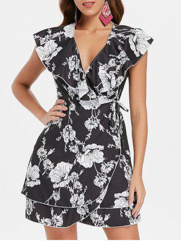 Affordable Floral Print Ruffle Insert Wrap Dress