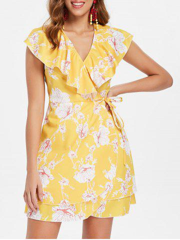 Latest Floral Print Ruffle Insert Wrap Dress