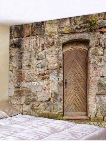 Outfit Wooden Door Stone Wall Pattern Tapestry Hanging Decor
