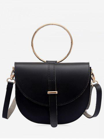 Shops Flapped Faux Leather Ring Buckled Crossbody Bag
