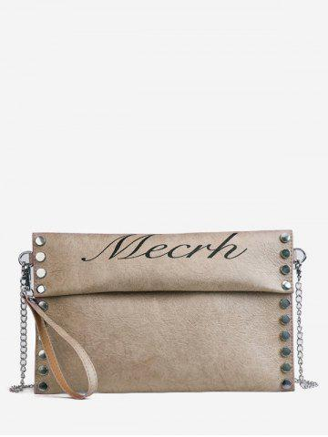 Outfits PU Leather Chic Studded Crossbody Bag with Wristlet