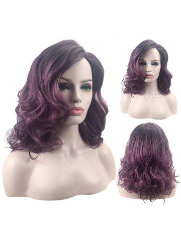 Latest Medium Side Bang Wavy Colormix Heat Resistant Synthetic Wig