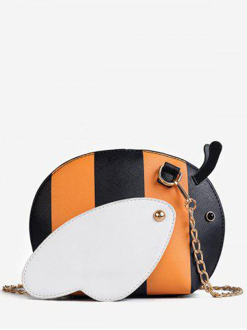 Chic Color Block Chain Critters Shaped Sling Bag