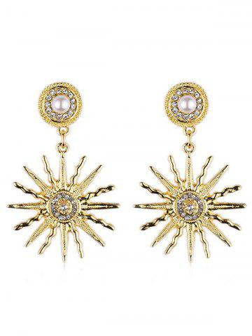 Store Faux Pearl Sun Light Design Rhinestone Earrings