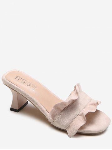 Online Chunky Heel Ruffles Decorated Mules Shoes