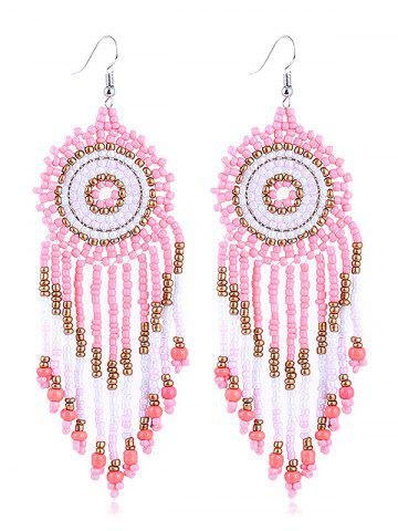 Dreamcatcher Design Beads Tassel Earrings - Pink